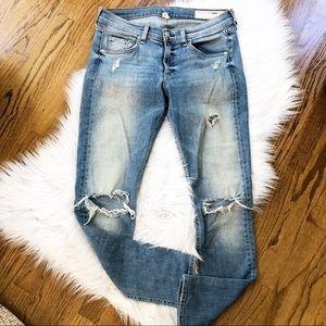 Rag & Bone Distressed Crop Ankle Jeans